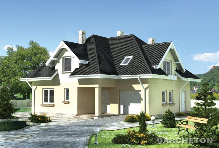 Projekt domu Bogna - dom w kształcie litery L z dachem wielospadowym