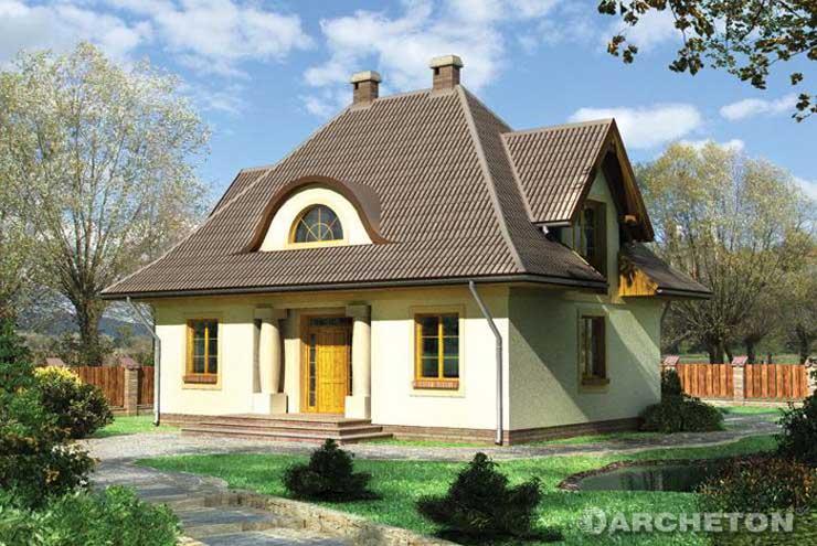 Projekt domu Bogoria - tradycyjny dom o symetrycznym układzie, z wykuszem podpartym kolumnami