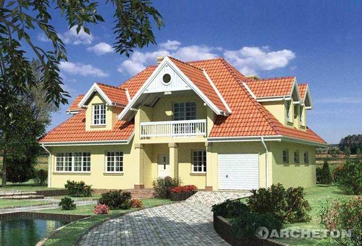 Projekt domu Bogumił - dom z lukarną doświetlającą klatkę schodową