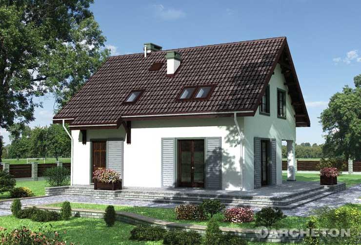Projekt domu Bonifacy - dom z okiennicami i opaskami wokół okien