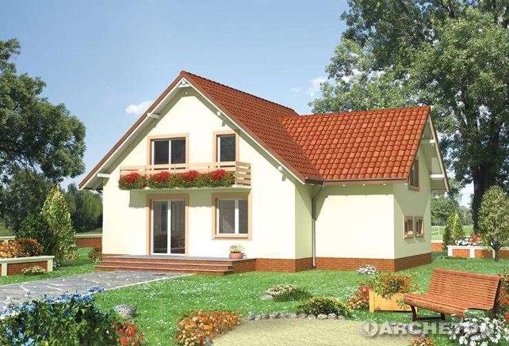 Projekt domu Borówka - dom podmiejski z podcieniem wejścia i balkonem ogrodowym