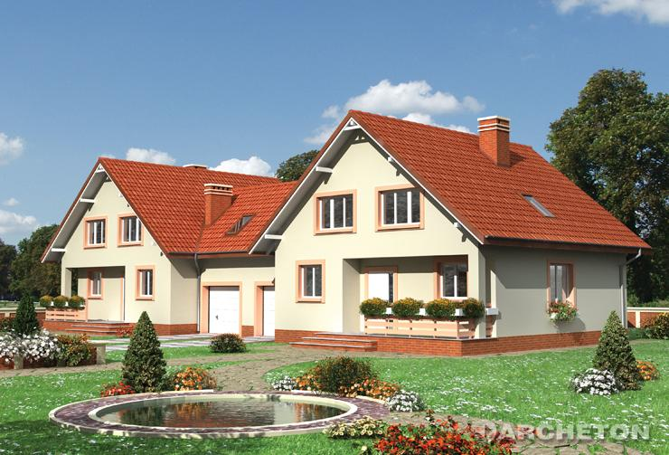 Projekt domu Borówka Duo - dom w kształcie kwadratu do zabudowy bliźniaczej