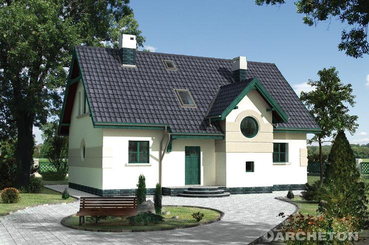 Projekt domu Borsuk - dom z wysuniętym ryzalitem klatki schodowej z okrągłym oknem