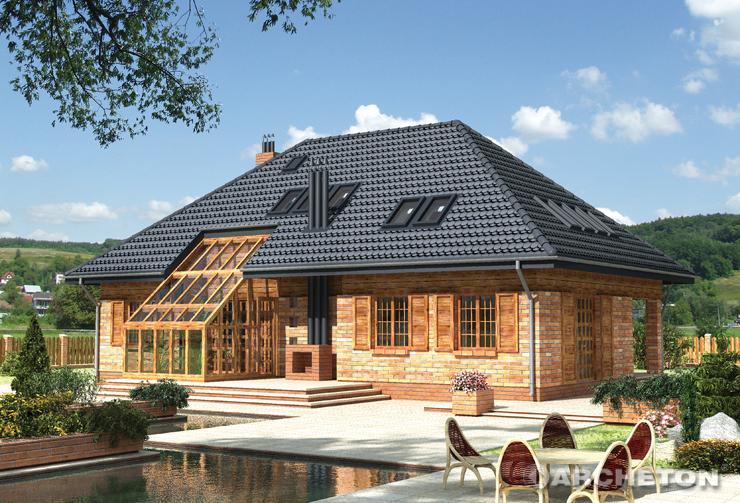 Projekt domu Boryna - dom z pokojem kominkowym na parterze