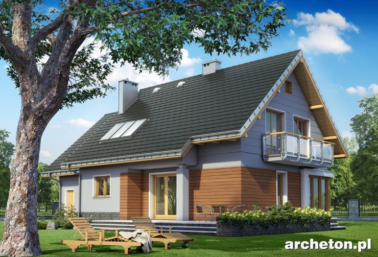 Projekt domu Bruno - atrakcyjny dom z przeszkloną jadalnią, z przestronnym tarasem od ogrodu