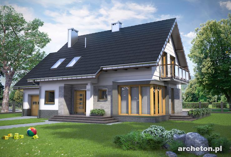 Projekt domu Bruno Rex - modernistyczny dom, z przeszkloną jadalnia od frontu