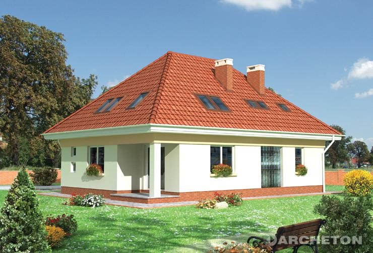 Projekt domu Bryza - dom z dachem czterospadowym o nachyleniu 42 stopni