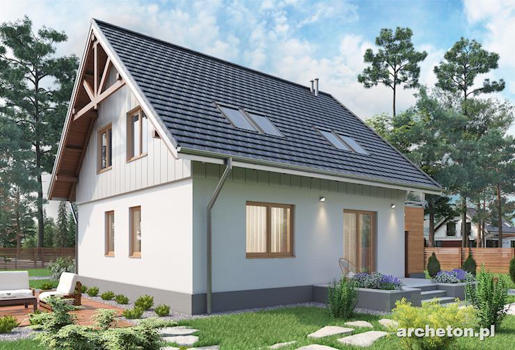 Projekt domu Brzask - dom z dostawionym garażem, którego dach stanowi taras
