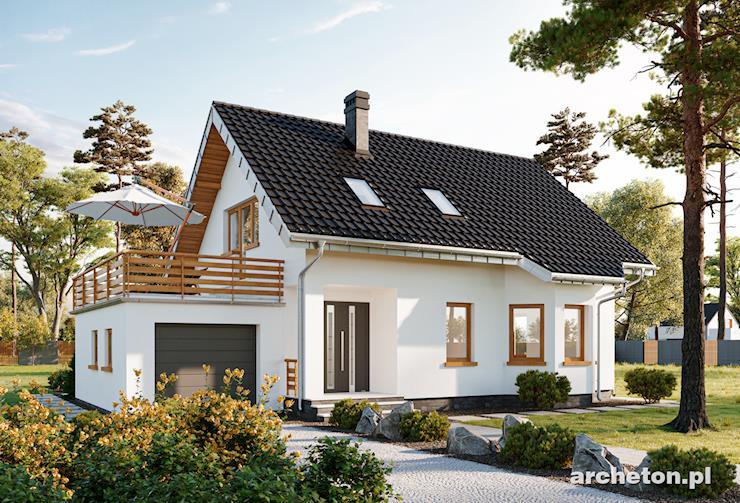 Projekt domu Calineczka-2 - olśniewający dom, z dużym balkonem nad garażem