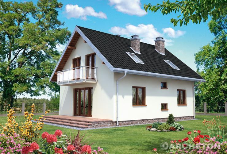 Projekt domu Calineczka Rex - dom z sypialnią posiadającą łazienkę i garderobę