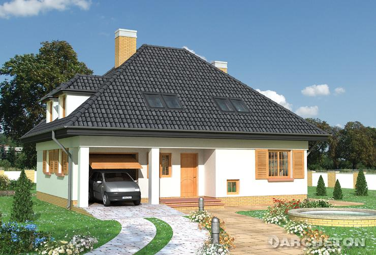 Projekt domu Cecylia - nieduży dom wzbogacony dużą ilością lukarn i podcieni