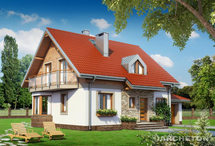 Projekt domu Celesta 2.0 - dom o nowoczesnych detalach, z dostawionym do bryły garażem