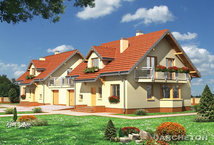 Projekt domu Celesta-2 Duo - dom do zabudowy bliźniaczej z balkonem nad wysuniętą częścią jadalni