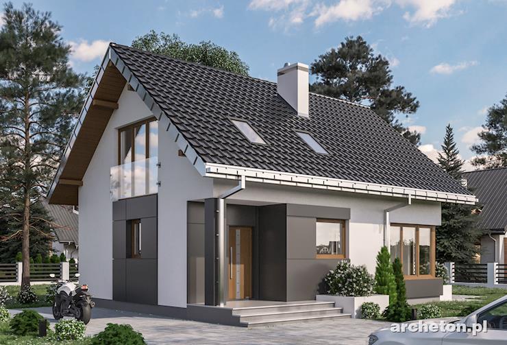Projekt domu Celia - mały dom z wejściem w podcieniu i nowoczesnymi detalami