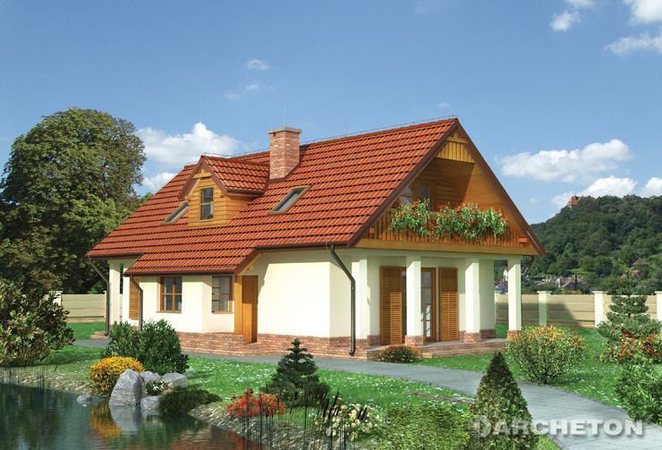 Projekt domu Celina - dom z drewnianymi elementami wykończenia elewacji