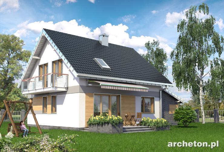 Projekt domu Chaber - podpiwniczony dom, z użytkowym poddaszem, z garażem i kominkiem
