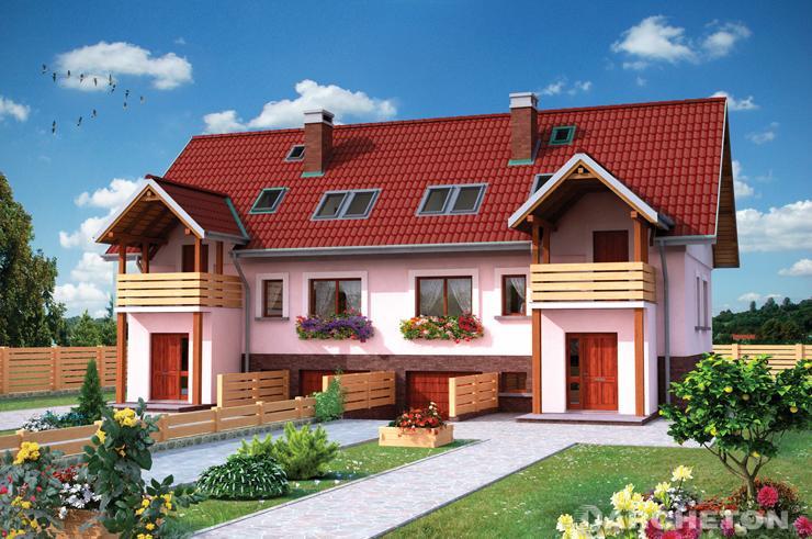 Projekt domu Cis Duo - dom do zabudowy bliźniaczej wzbogacony gankiem i drewnianym tarasem
