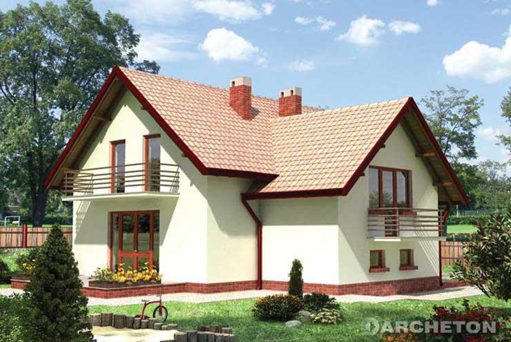 Projekt domu Cyklamen - dom wzbogacony ryzalitem jadalni i łazienki
