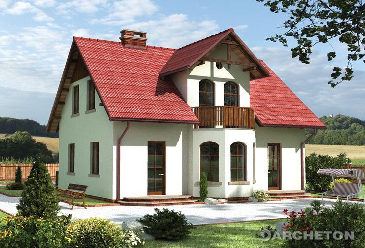 Projekt domu Cymelia - dom z wysuniętą klatką schodową od frontu