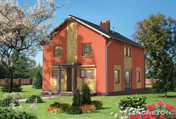 Projekt domu Cynober - dom z dużym przeszkleniem na parterze w pokoju dziennym