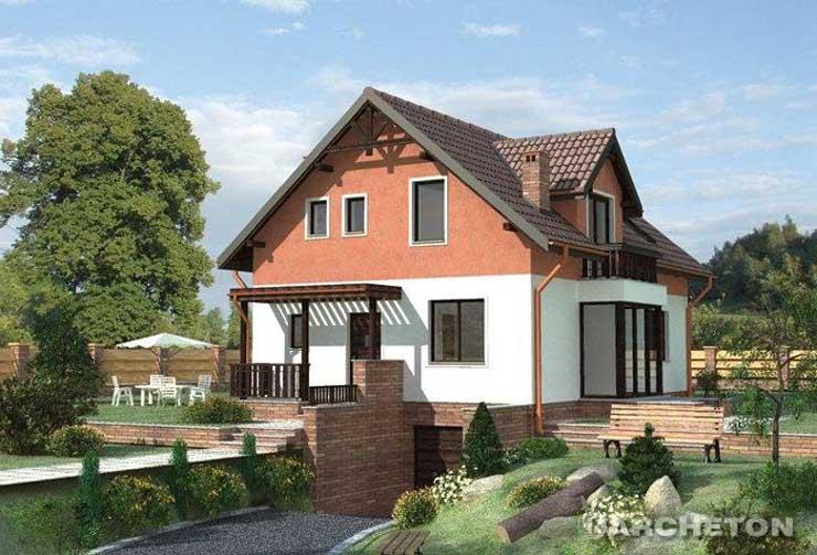 Projekt domu Cyriak - dom z garażem w piwnicy i ogrodem zimowym od strony grodu
