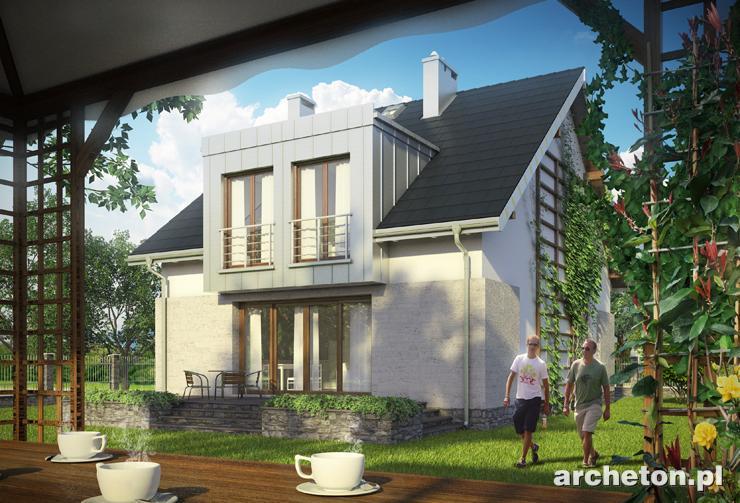 Projekt domu Cyrkonia - nowoczesny dom na wąską działkę, z pralnią na poddaszu