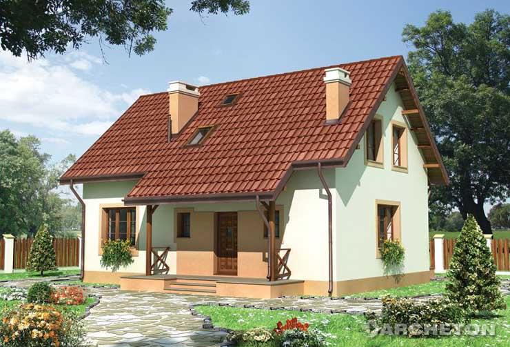 Projekt domu Cyryl - dom o prostej bryle, przykryty dachem dwuspadowym o kącie nachylenia połaci 42°