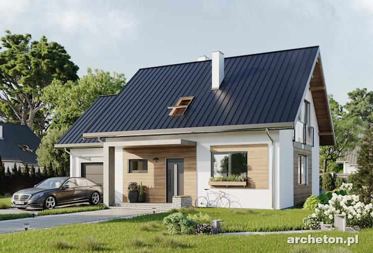 Projekt domu Czaruś - niewielki domek dla 5 osób, pokryty dachem dwuspadowym