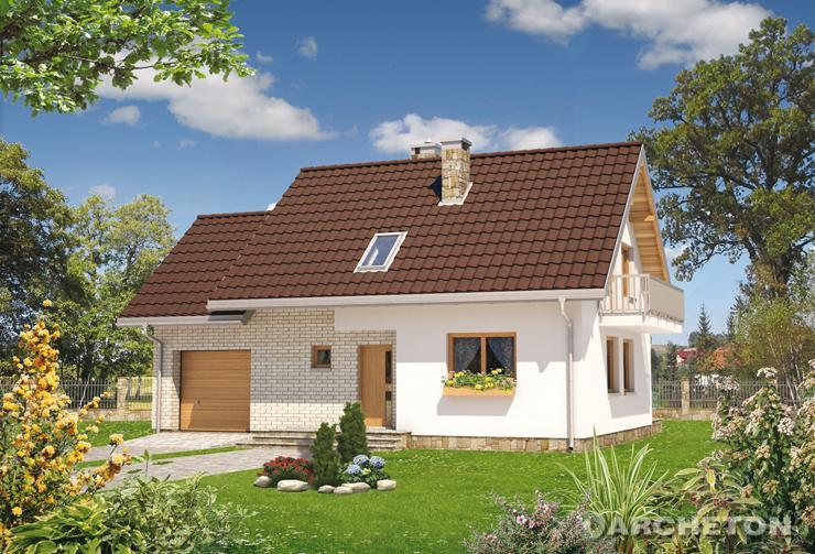 Projekt domu Czaruś - nieduży  dom z czterema pokojami na poddaszu