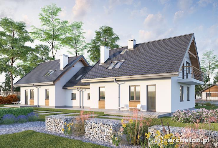 Projekt domu Czaruś Duo - nieduży dom parterowy do zabudowy bliźniaczej, z dobudowanym garażem