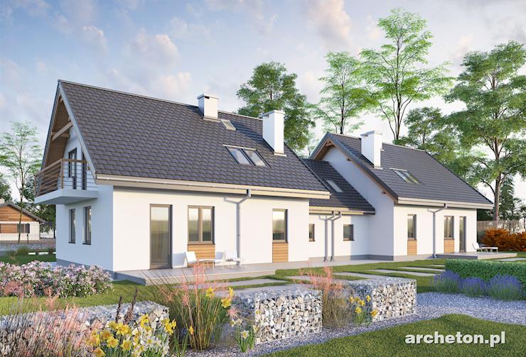 Projekt domu Czaruś Duolit - duży, dwulokalowy dom z użytkowym poddaszem