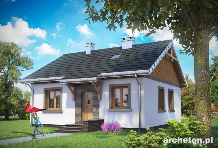 Projekt domu Czyżyk - niewielki dom parterowy, z trzema pokojami, kuchnią i łazienką