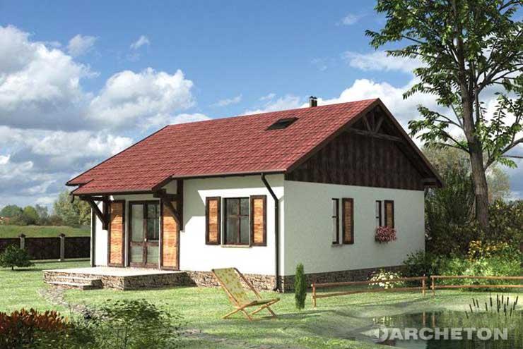 Projekt domu Czyżyk - mały dom z deskowaniem na ścianach szczytowych