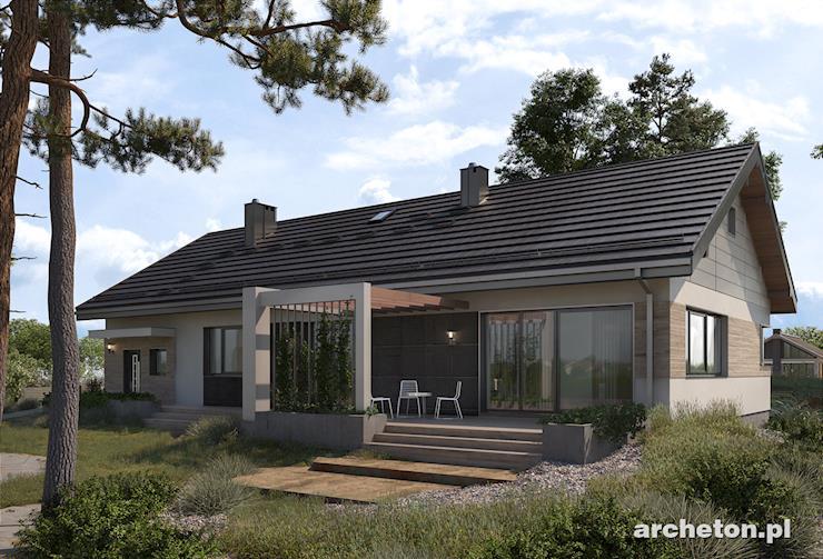Projekt domu Dagmara - niewielki dom parterowy, z garażem, 3 sypialniami i gabinetem