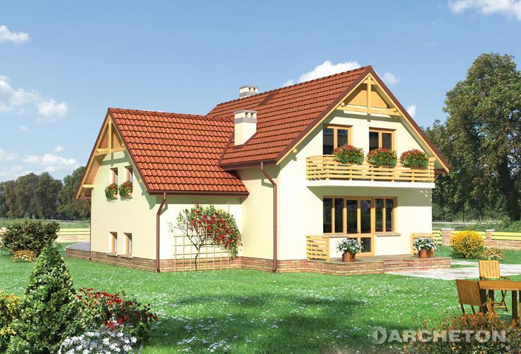 Projekt domu Damazy - prosty dom w kształcie litery T zaakcentowany daszkiem od strony frontowej