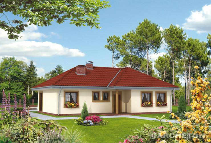 Projekt domu Daniela - dom parterowy z obszernymi podcieniami od frontu i od strony ogrodu