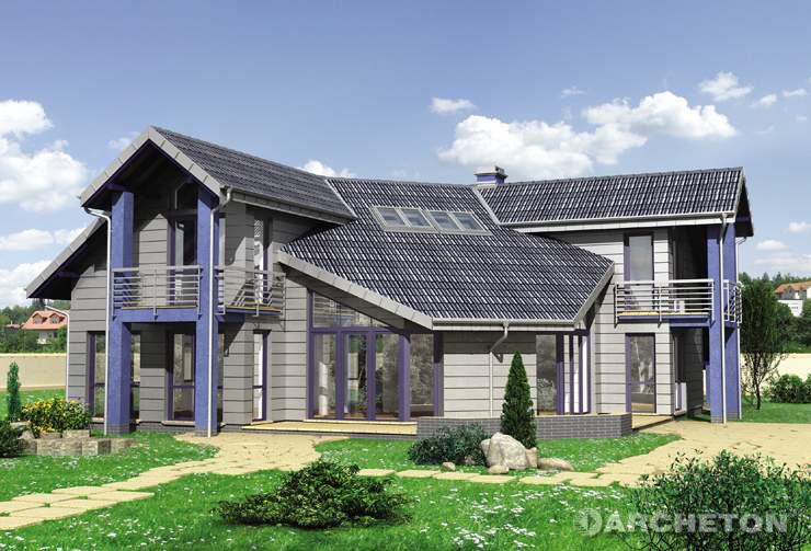 Projekt domu David - duży i nowoczesny dom z wiatą na samochód
