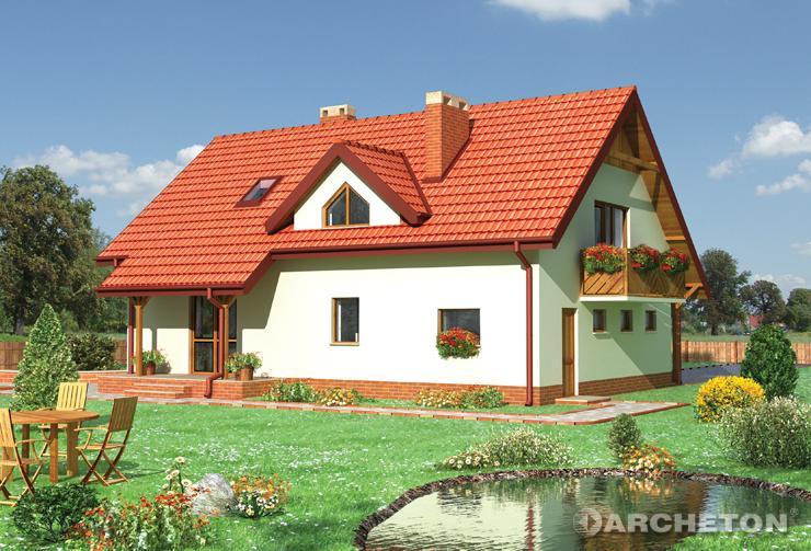 Projekt domu Delta - dom z dachem wysuniętym nad wejściem i tarasem od strony ogrodu
