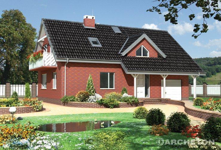 Projekt domu Delta - dom z dachem wysuniętym nad tarasem i podestem wejściowym