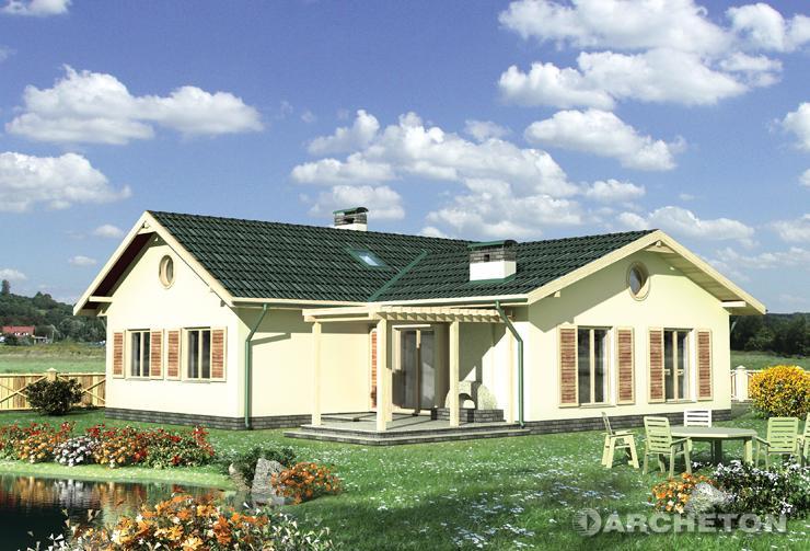 Projekt domu Demeter - dom urozmaicony dwoma tarasami oraz kominkiem i pergolą od strony ogrodu