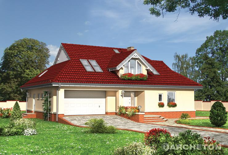 Projekt domu Dereń - duży dom z trzema łazienkami i ciekawym rozmieszczeniem pokoi