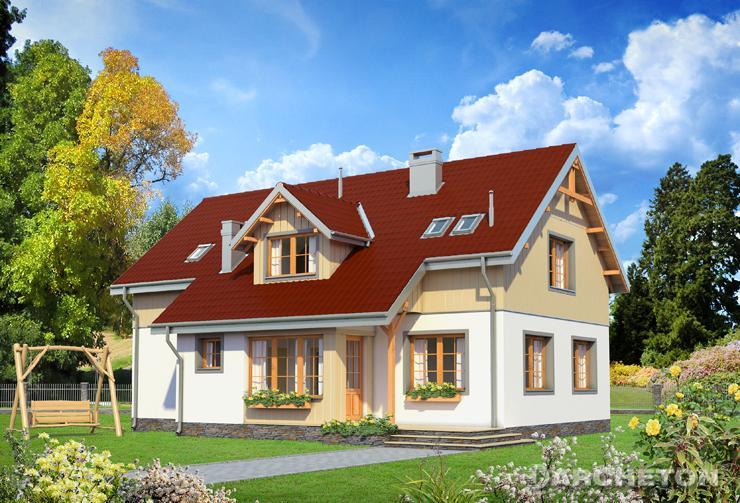 Projekt domu Derkacz - dom wzbogacony o deskowania i z drewnianymi opaskami wokół okien