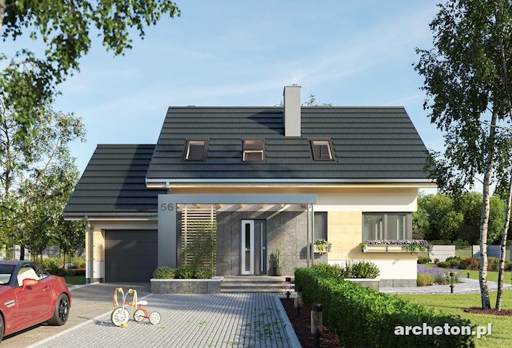Projekt domu Dino - prosty domek, o nowoczesnych detalach, z funkcjonalnym wnętrzem