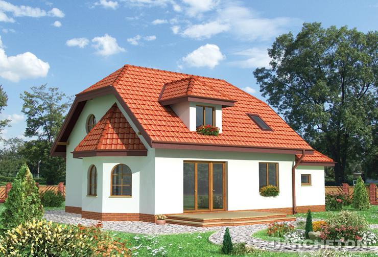 Projekt domu Dobrawa - dom na rzucie prostokąta z tarasem nad garażem