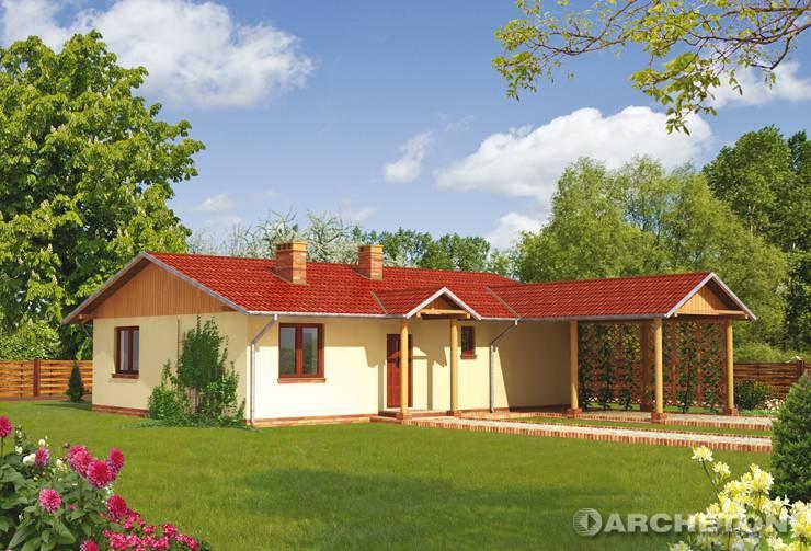 Projekt domu Domino - mały dom parterowy z wiatą samochodową