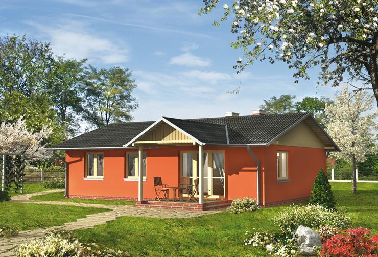 Projekt domu Domino-2 - przutulny domek parterowy, na planie prostokąta, z 3 sypialniami
