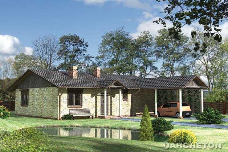 Projekt domu Domino - niski rozłożysty dom z wiatą na samochód