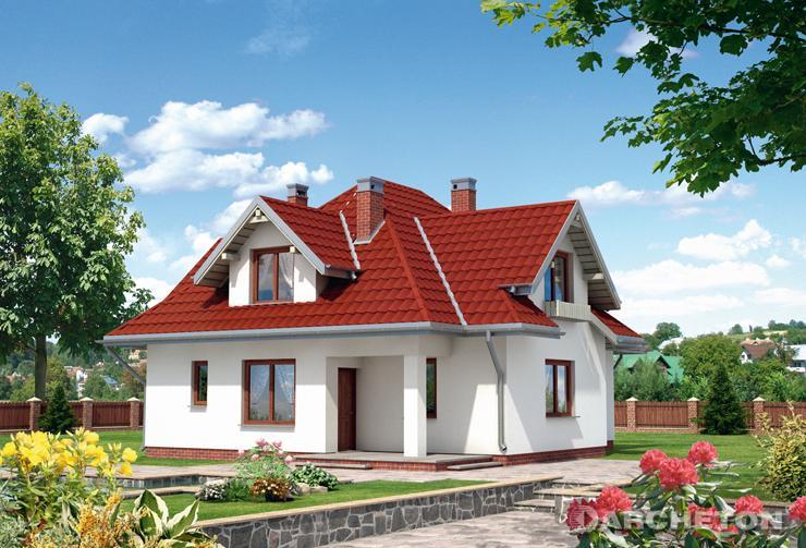 Projekt domu Donata - średniej wielkości dom wzbogacony lukarnami i wejściem w podcieniu