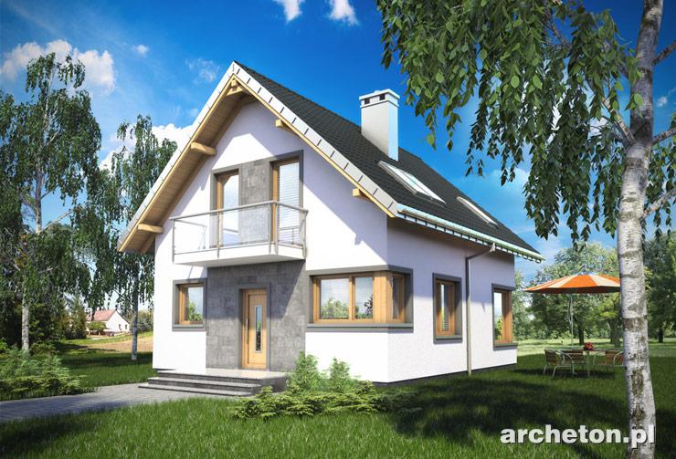 Projekt domu Dorian - niewielki dom na wąską działkę, z wejściem od ściany szczytowej