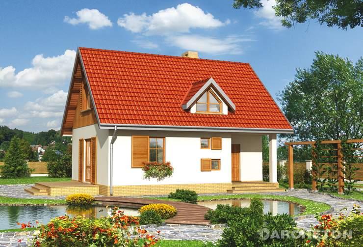 Projekt domu Drobina - mały dom z użytkowym poddaszem, z tarasem na elewacji bocznej